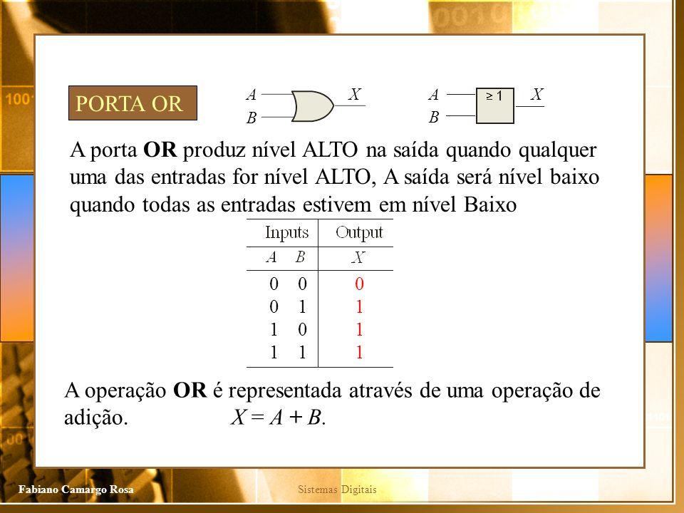 Sistemas DigitaisFabiano Camargo Rosa A porta OR produz nível ALTO na saída quando qualquer uma das entradas for nível ALTO, A saída será nível baixo quando todas as entradas estivem em nível Baixo PORTA OR A operação OR é representada através de uma operação de adição.
