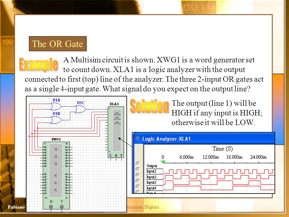 Sistemas DigitaisFabiano Camargo Rosa The OR Gate A Multisim circuit is shown. XWG1 is a word generator set to count down. XLA1 is a logic analyzer wi