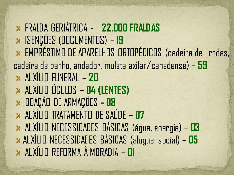 FRALDA GERIÁTRICA - 22.000 FRALDAS ISENÇÕES (DOCUMENTOS) – 19 EMPRÉSTIMO DE APARELHOS ORTOPÉDICOS (cadeira de rodas, cadeira de banho, andador, muleta