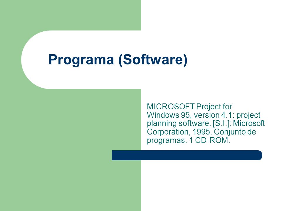 Programa (Software) MICROSOFT Project for Windows 95, version 4.1: project planning software.