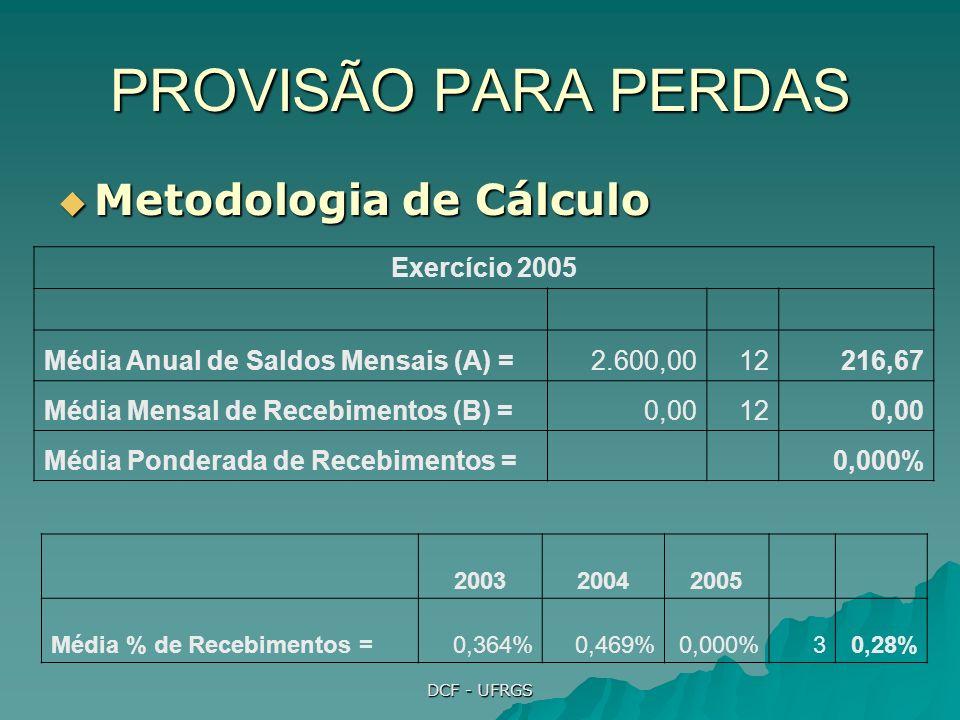 DCF - UFRGS PROVISÃO PARA PERDAS Metodologia de Cálculo Metodologia de Cálculo Exercício 2005 Média Anual de Saldos Mensais (A) =2.600,0012216,67 Média Mensal de Recebimentos (B) =0,00120,00 Média Ponderada de Recebimentos = 0,000% 200320042005 Média % de Recebimentos =0,364%0,469%0,000%30,28%