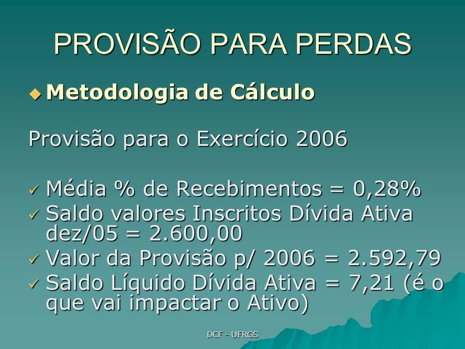 DCF - UFRGS PROVISÃO PARA PERDAS Metodologia de Cálculo Metodologia de Cálculo Provisão para o Exercício 2006 Média % de Recebimentos = 0,28% Média % de Recebimentos = 0,28% Saldo valores Inscritos Dívida Ativa dez/05 = 2.600,00 Saldo valores Inscritos Dívida Ativa dez/05 = 2.600,00 Valor da Provisão p/ 2006 = 2.592,79 Valor da Provisão p/ 2006 = 2.592,79 Saldo Líquido Dívida Ativa = 7,21 (é o que vai impactar o Ativo) Saldo Líquido Dívida Ativa = 7,21 (é o que vai impactar o Ativo)