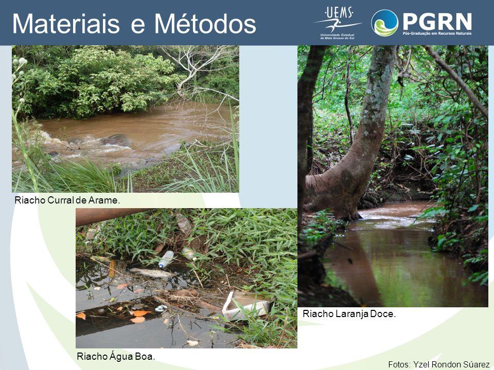 Materiais e Métodos Riacho Curral de Arame. Riacho Laranja Doce. Fotos: Yzel Rondon Súarez Riacho Água Boa.
