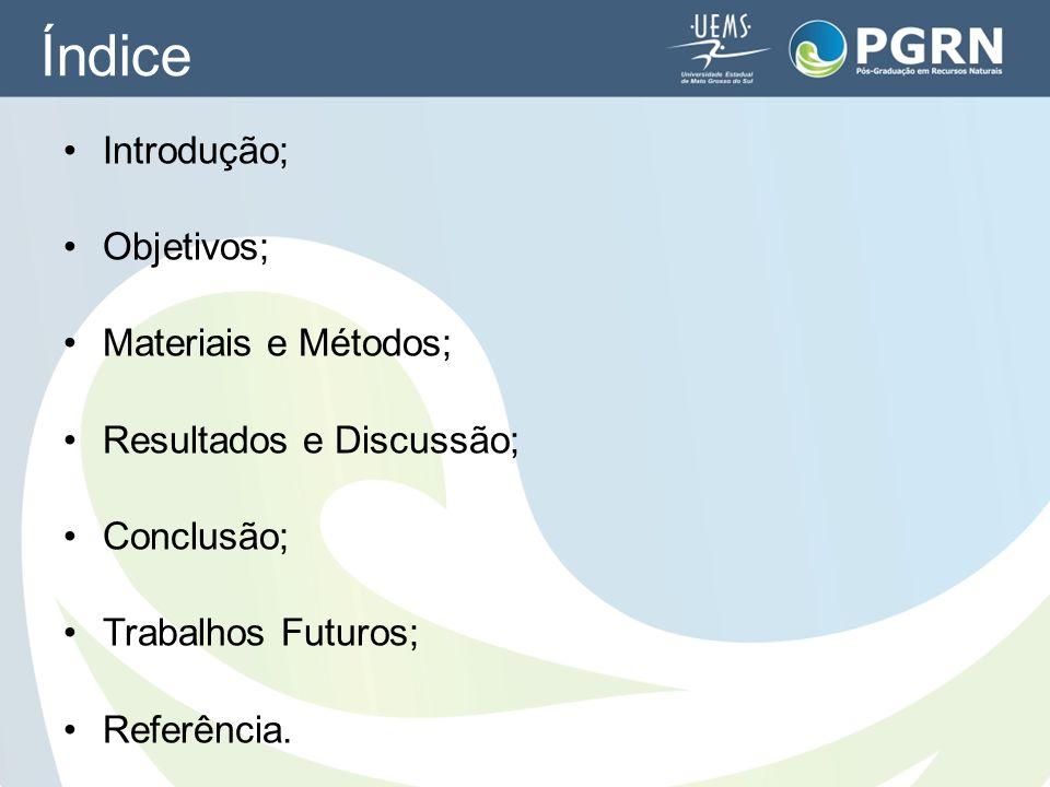Índice Introdução; Objetivos; Materiais e Métodos; Resultados e Discussão; Conclusão; Trabalhos Futuros; Referência.