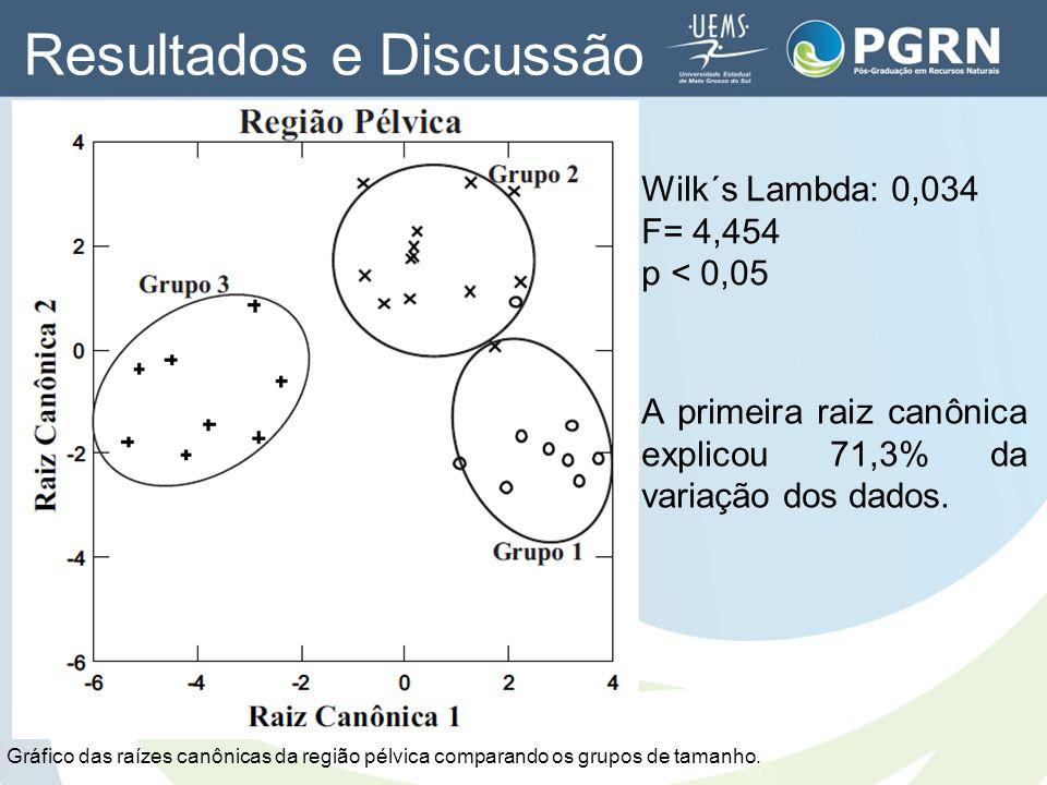 Wilk´s Lambda: 0,034 F= 4,454 p < 0,05 A primeira raiz canônica explicou 71,3% da variação dos dados. Gráfico das raízes canônicas da região pélvica c