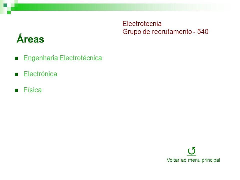 Áreas Engenharia Electrotécnica Electrónica Física Electrotecnia Grupo de recrutamento - 540 Voltar ao menu principal