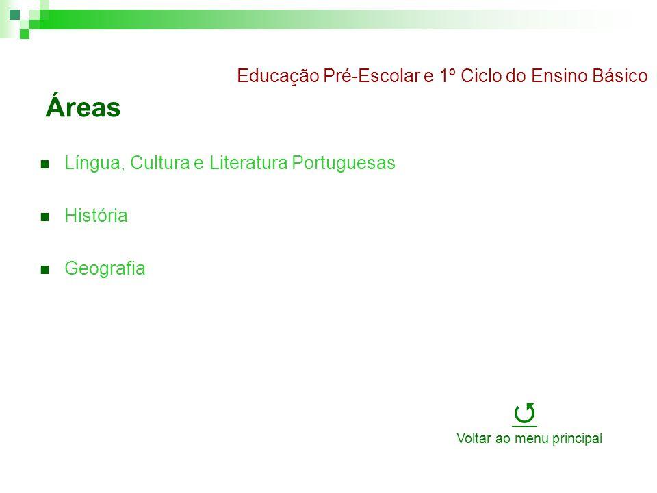Áreas Língua, Cultura e Literatura Portuguesas História Geografia Educação Pré-Escolar e 1º Ciclo do Ensino Básico Voltar ao menu principal
