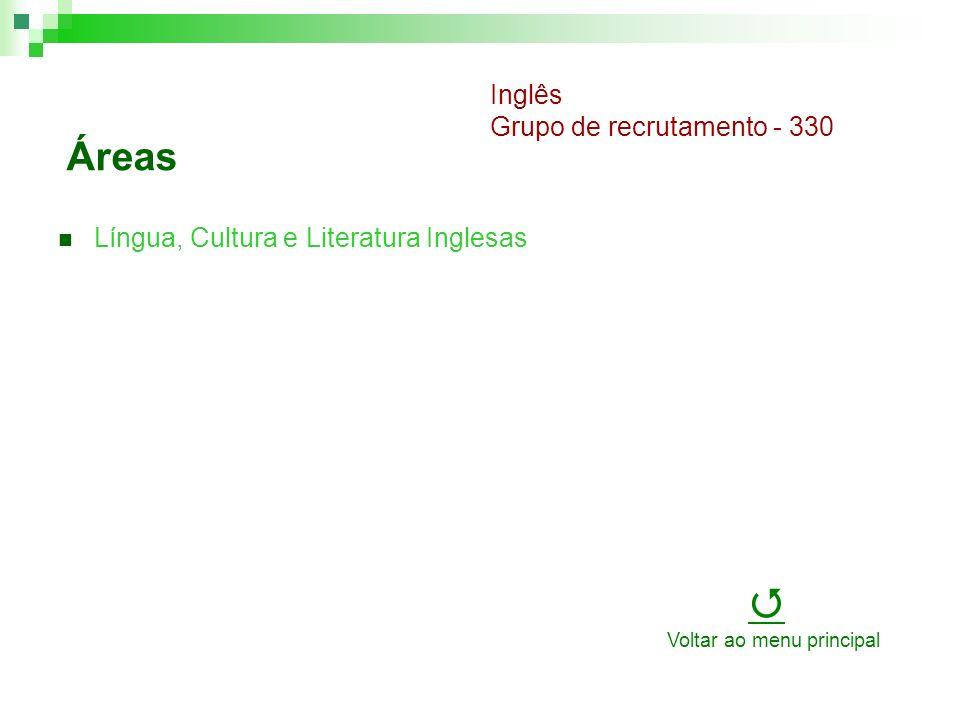 Áreas Língua, Cultura e Literatura Inglesas Inglês Grupo de recrutamento - 330 Voltar ao menu principal