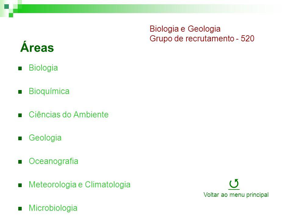 Áreas Biologia Bioquímica Ciências do Ambiente Geologia Oceanografia Meteorologia e Climatologia Microbiologia Biologia e Geologia Grupo de recrutamento - 520 Voltar ao menu principal