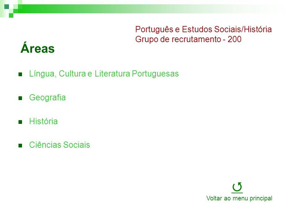 Áreas Língua, Cultura e Literatura Portuguesas Geografia História Ciências Sociais Português e Estudos Sociais/História Grupo de recrutamento - 200 Voltar ao menu principal