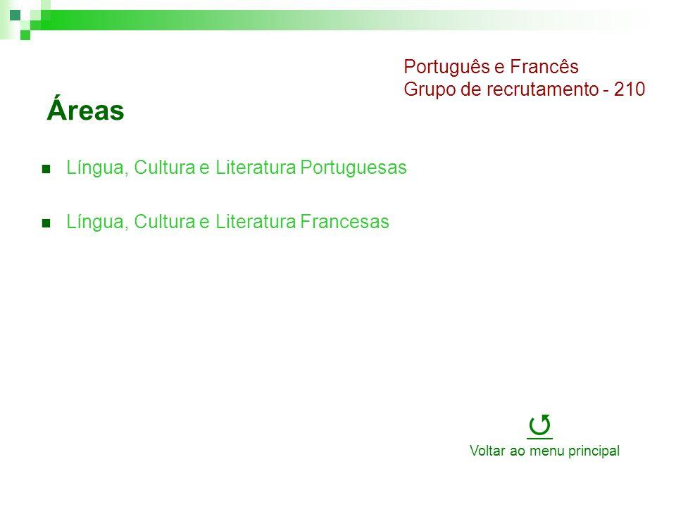 Áreas Língua, Cultura e Literatura Portuguesas Língua, Cultura e Literatura Francesas Português e Francês Grupo de recrutamento - 210 Voltar ao menu principal