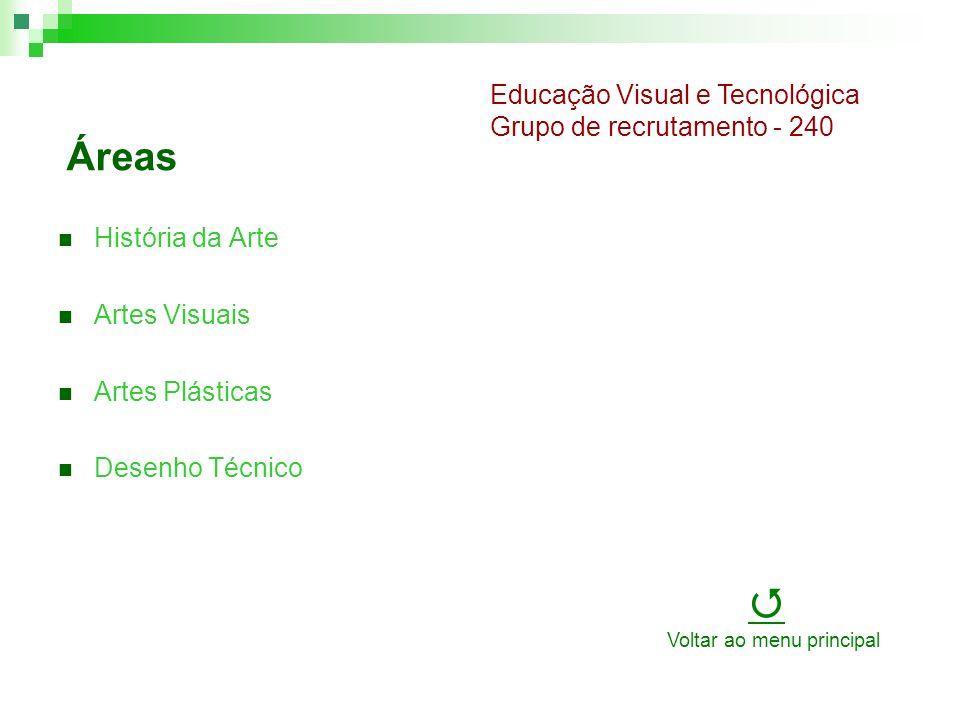 Áreas História da Arte Artes Visuais Artes Plásticas Desenho Técnico Educação Visual e Tecnológica Grupo de recrutamento - 240 Voltar ao menu principal