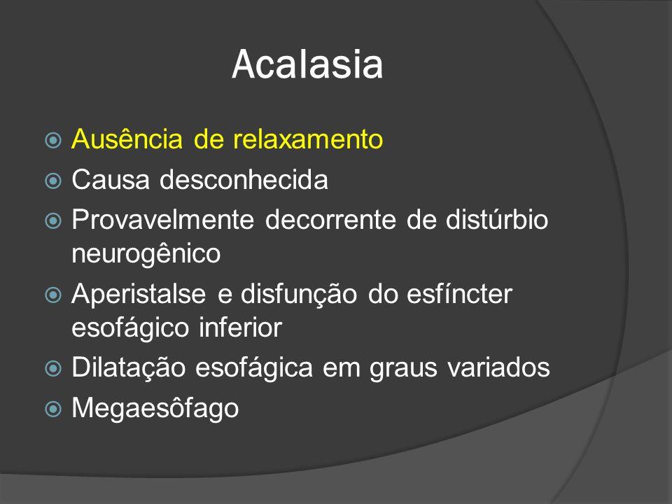 Acalasia Ausência de relaxamento Causa desconhecida Provavelmente decorrente de distúrbio neurogênico Aperistalse e disfunção do esfíncter esofágico i