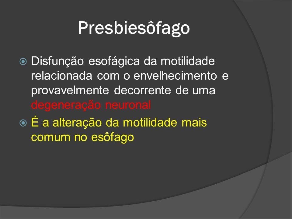Presbiesôfago Disfunção esofágica da motilidade relacionada com o envelhecimento e provavelmente decorrente de uma degeneração neuronal É a alteração