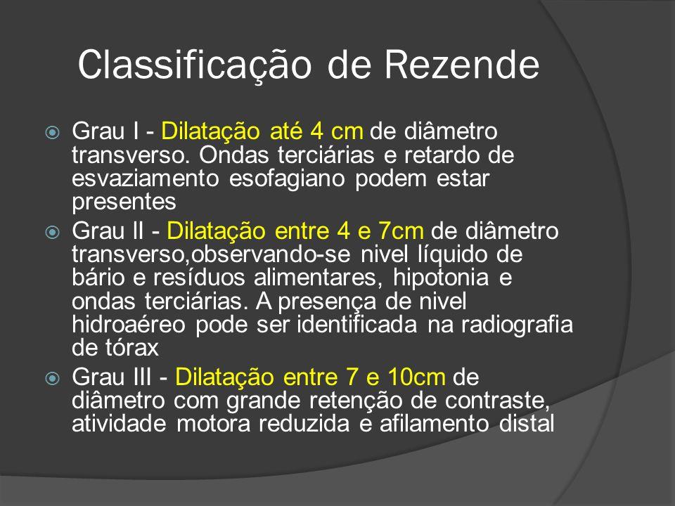 Classificação de Rezende Grau I - Dilatação até 4 cm de diâmetro transverso. Ondas terciárias e retardo de esvaziamento esofagiano podem estar present