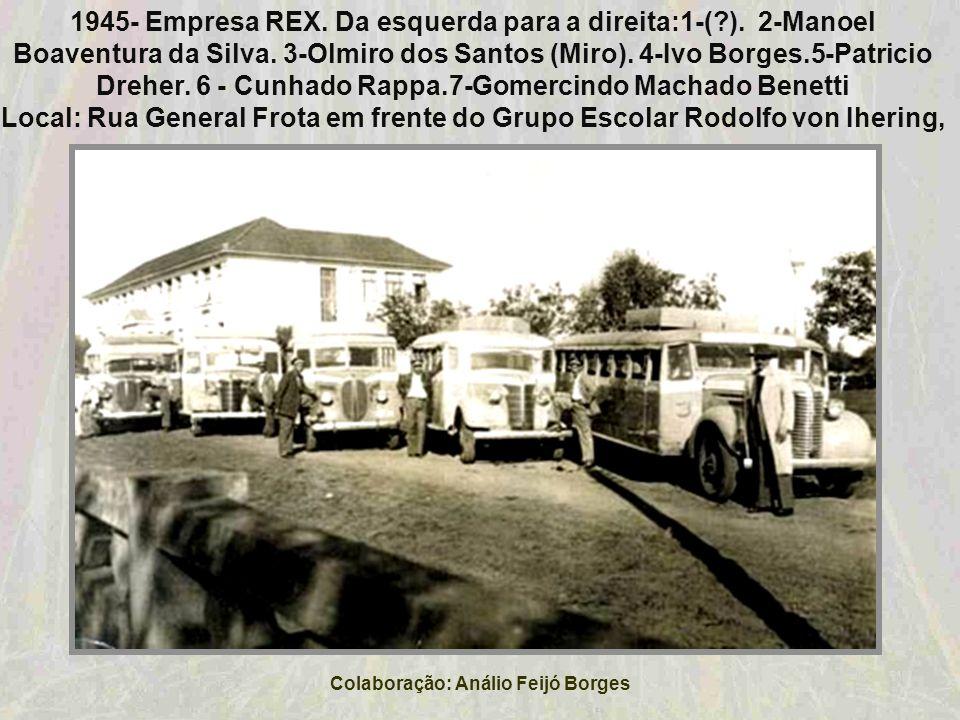 1945-Carro movido à gasogênio. Na foto Dr.Alípio Sperb, durante uma viagem até o Rio de janeiro. Colaboração: Ana Lúcia Holmer Bauer Schweitzer