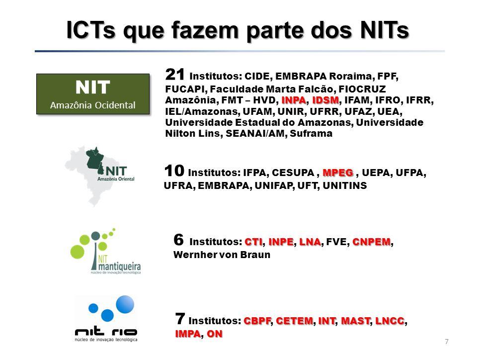 Estrutura Organizacional por NITs Coordenador Geral Rosângela Bentes Gestão da Inovação CapacitaçãoPI e TT Difusão e disseminação de Tecnologia e Inovação Parcerias Estratégicas Empreend.