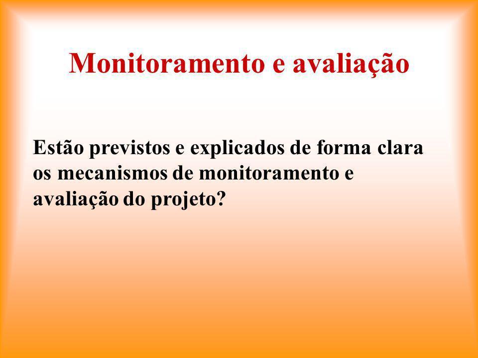 Monitoramento e avaliação Estão previstos e explicados de forma clara os mecanismos de monitoramento e avaliação do projeto?