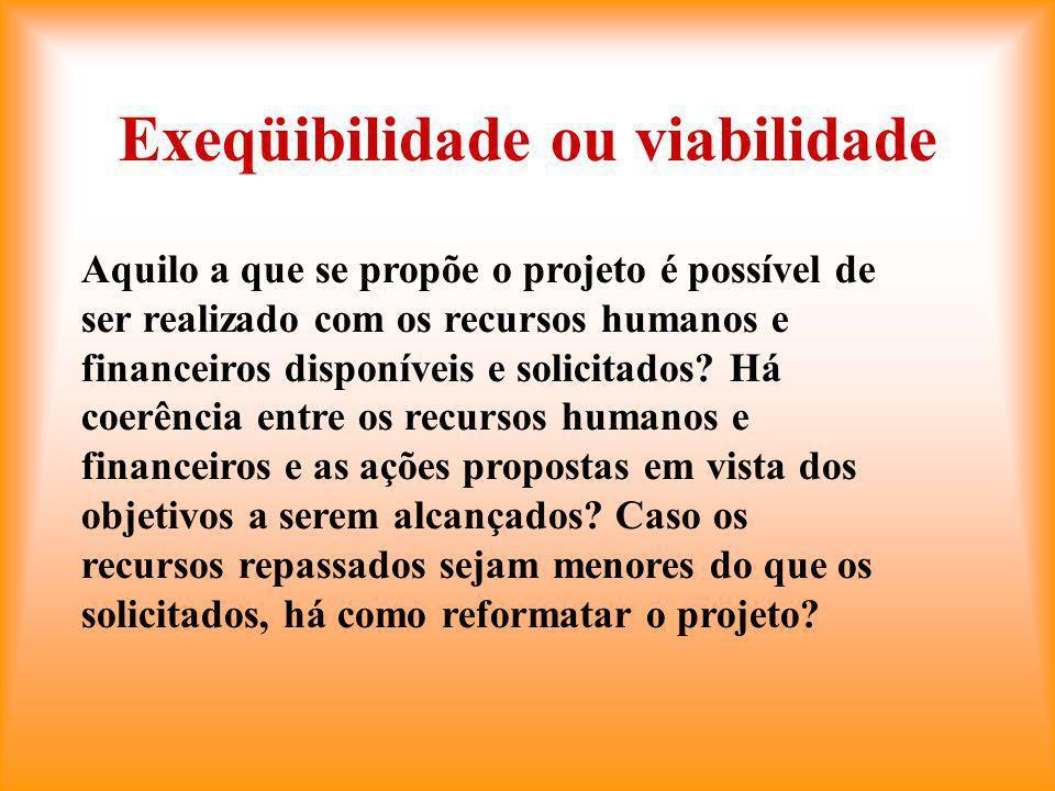 Exeqüibilidade ou viabilidade Aquilo a que se propõe o projeto é possível de ser realizado com os recursos humanos e financeiros disponíveis e solicitados.