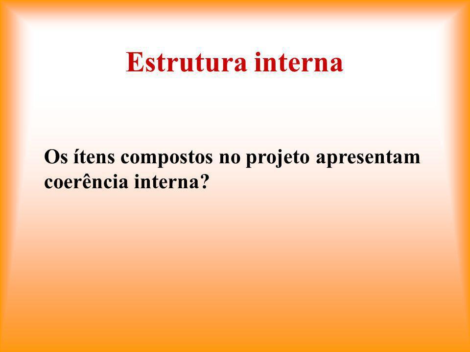 Estrutura interna Os ítens compostos no projeto apresentam coerência interna?