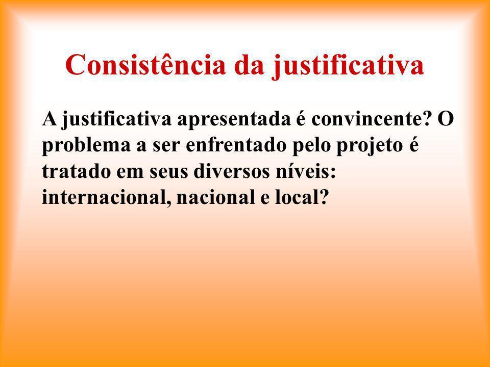 Consistência da justificativa A justificativa apresentada é convincente.