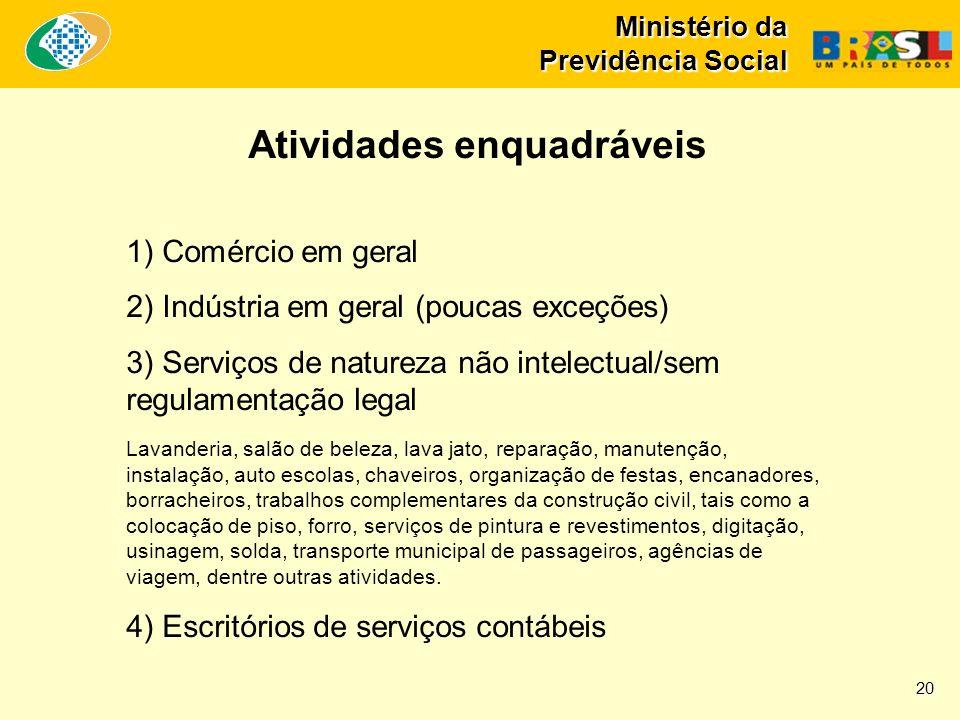 Ministério da Previdência Social 1) Comércio em geral 2) Indústria em geral (poucas exceções) 3) Serviços de natureza não intelectual/sem regulamentaç