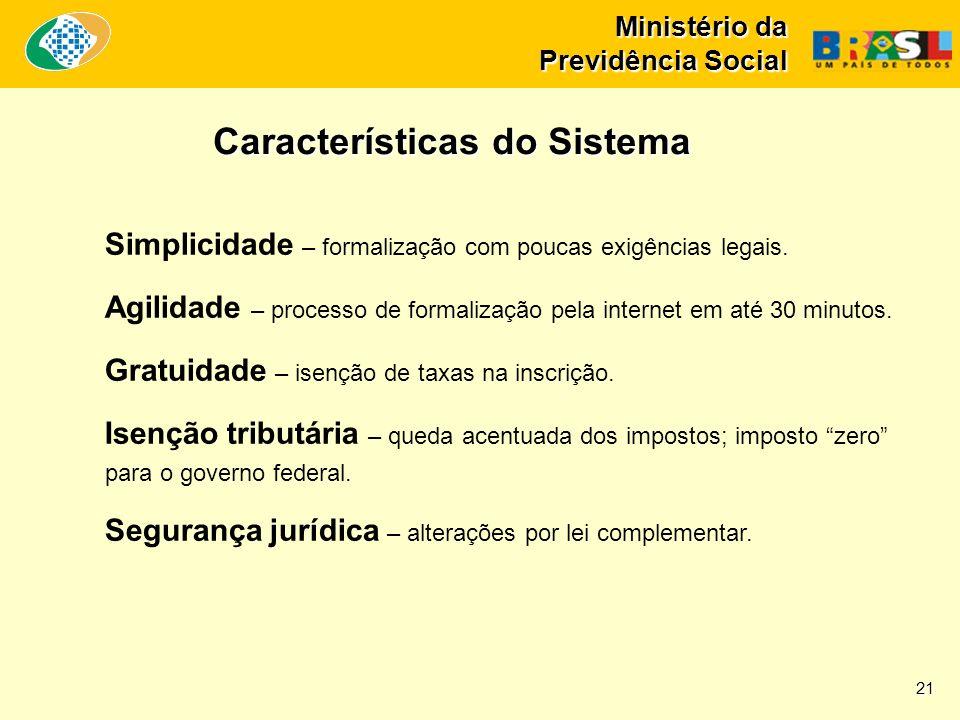 Ministério da Previdência Social Simplicidade – formalização com poucas exigências legais. Agilidade – processo de formalização pela internet em até 3