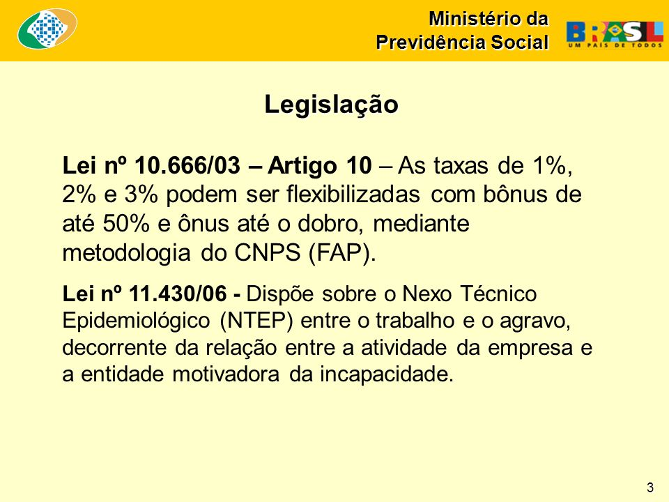 Ministério da Previdência Social Lei nº 10.666/03 – Artigo 10 – As taxas de 1%, 2% e 3% podem ser flexibilizadas com bônus de até 50% e ônus até o dob
