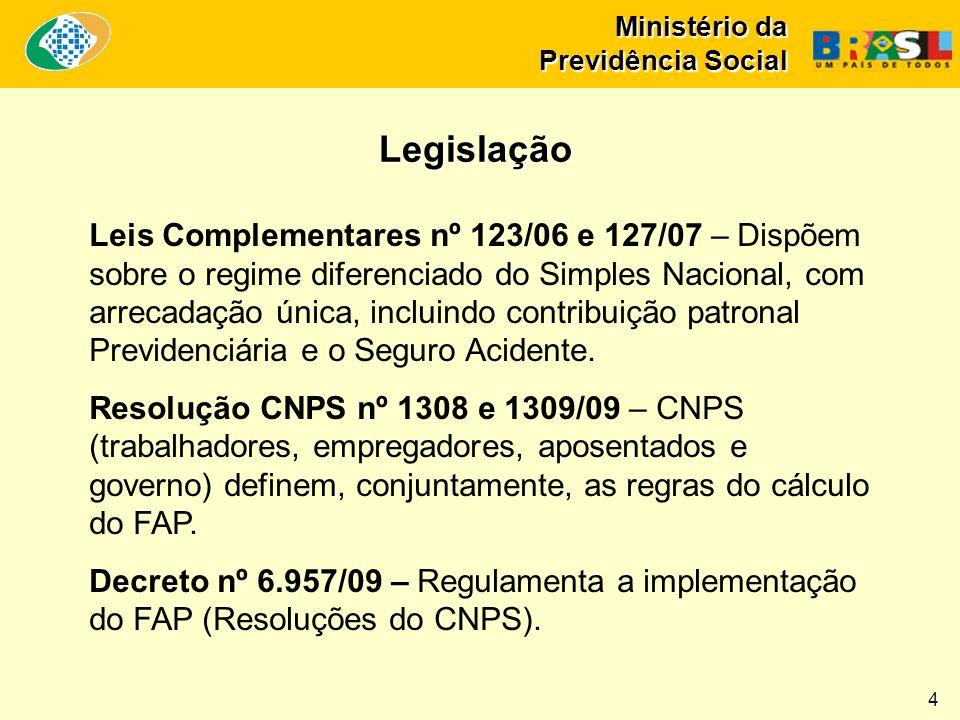 Ministério da Previdência Social Leis Complementares nº 123/06 e 127/07 – Dispõem sobre o regime diferenciado do Simples Nacional, com arrecadação úni