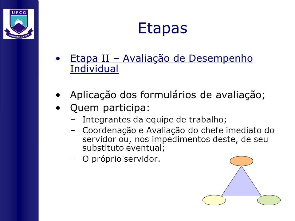 Etapas Etapa II – Avaliação de Desempenho Individual Aplicação dos formulários de avaliação; Quem participa: –Integrantes da equipe de trabalho; –Coor