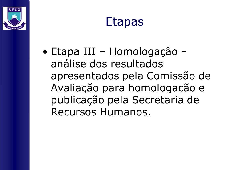 Etapas Etapa III – Homologação – análise dos resultados apresentados pela Comissão de Avaliação para homologação e publicação pela Secretaria de Recur