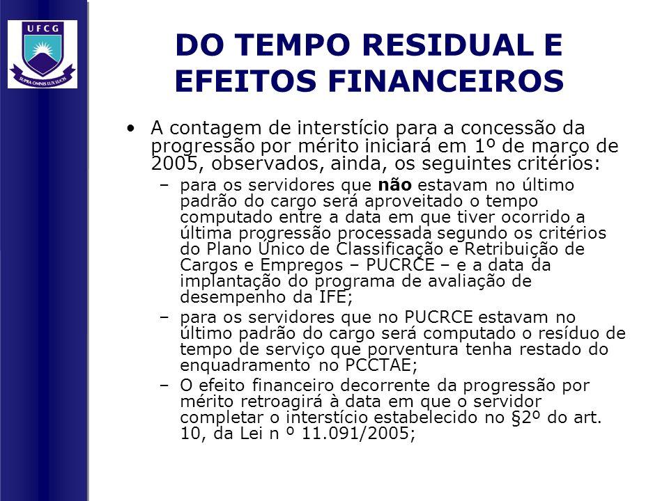 DO TEMPO RESIDUAL E EFEITOS FINANCEIROS A contagem de interstício para a concessão da progressão por mérito iniciará em 1º de março de 2005, observado