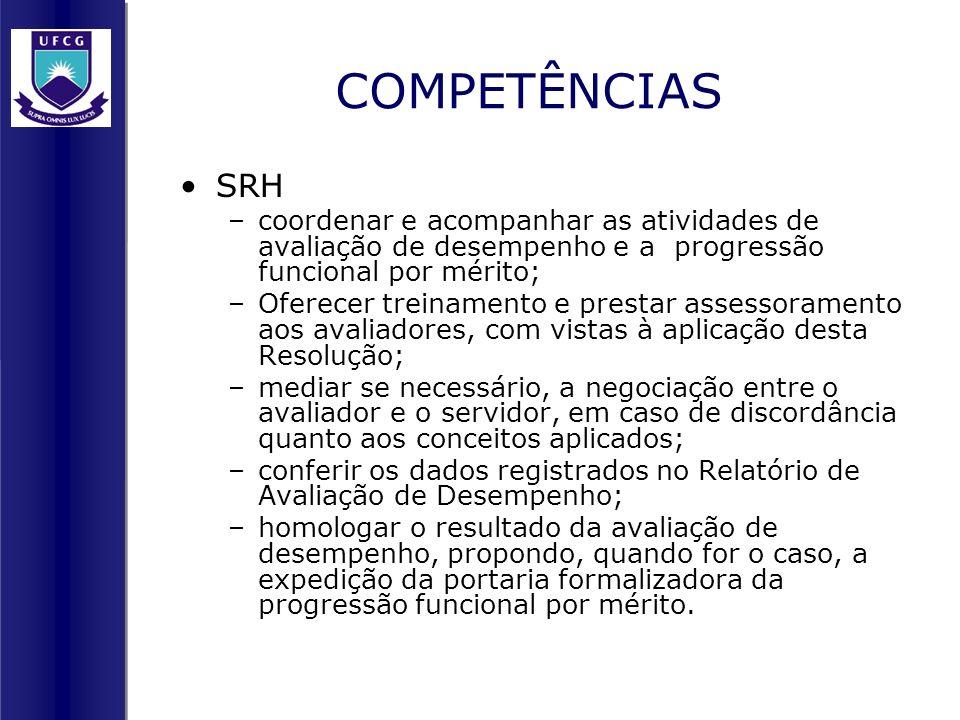 COMPETÊNCIAS SRH –coordenar e acompanhar as atividades de avaliação de desempenho e a progressão funcional por mérito; –Oferecer treinamento e prestar
