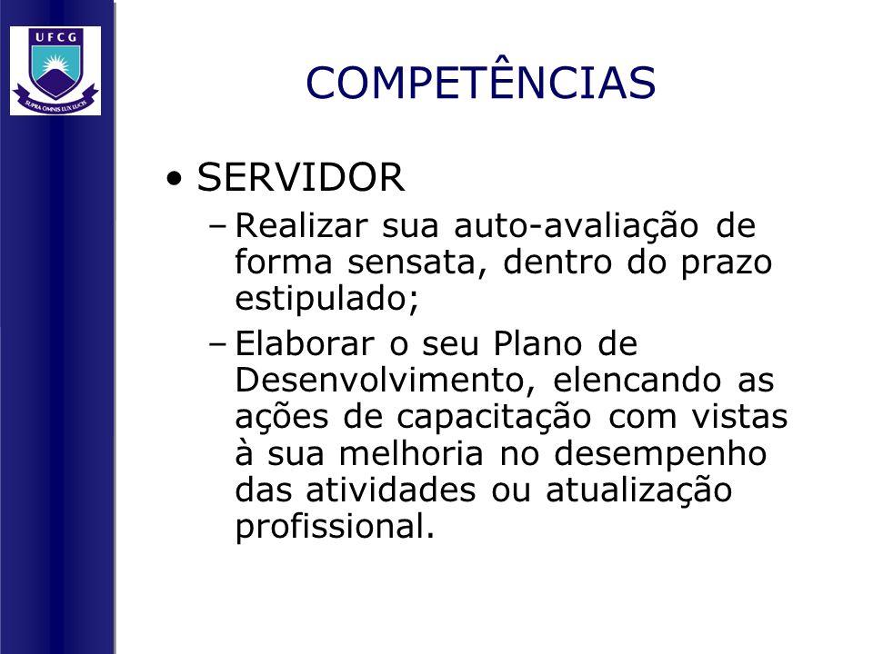 COMPETÊNCIAS SERVIDOR –Realizar sua auto-avaliação de forma sensata, dentro do prazo estipulado; –Elaborar o seu Plano de Desenvolvimento, elencando a