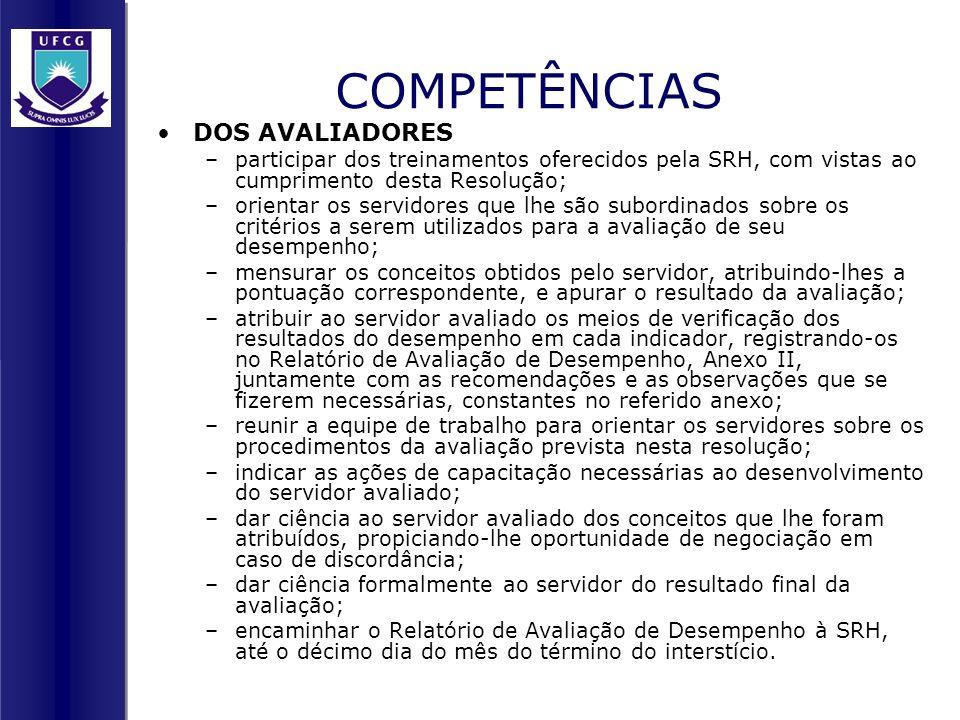 COMPETÊNCIAS DOS AVALIADORES –participar dos treinamentos oferecidos pela SRH, com vistas ao cumprimento desta Resolução; –orientar os servidores que