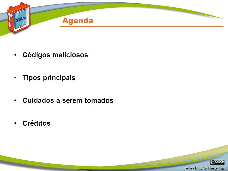 Agenda Códigos maliciosos Tipos principais Cuidados a serem tomados Créditos