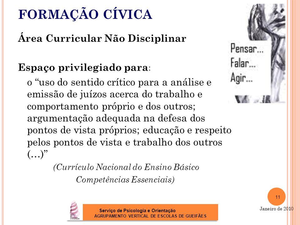 FORMAÇÃO CÍVICA Área Curricular Não Disciplinar Espaço privilegiado para : o uso do sentido crítico para a análise e emissão de juízos acerca do traba