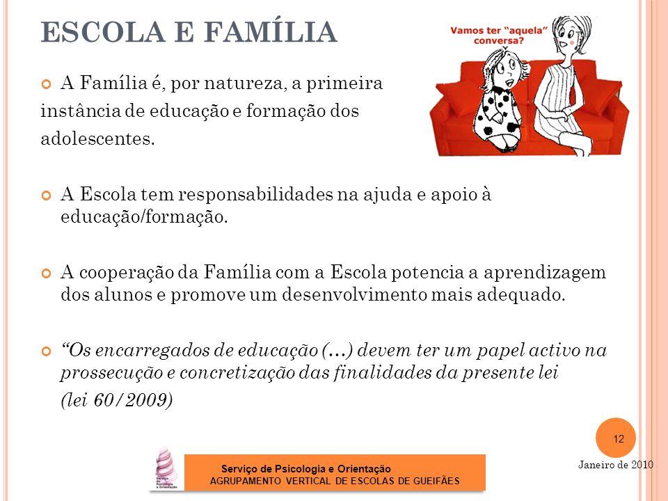ESCOLA E FAMÍLIA A Família é, por natureza, a primeira instância de educação e formação dos adolescentes. A Escola tem responsabilidades na ajuda e ap