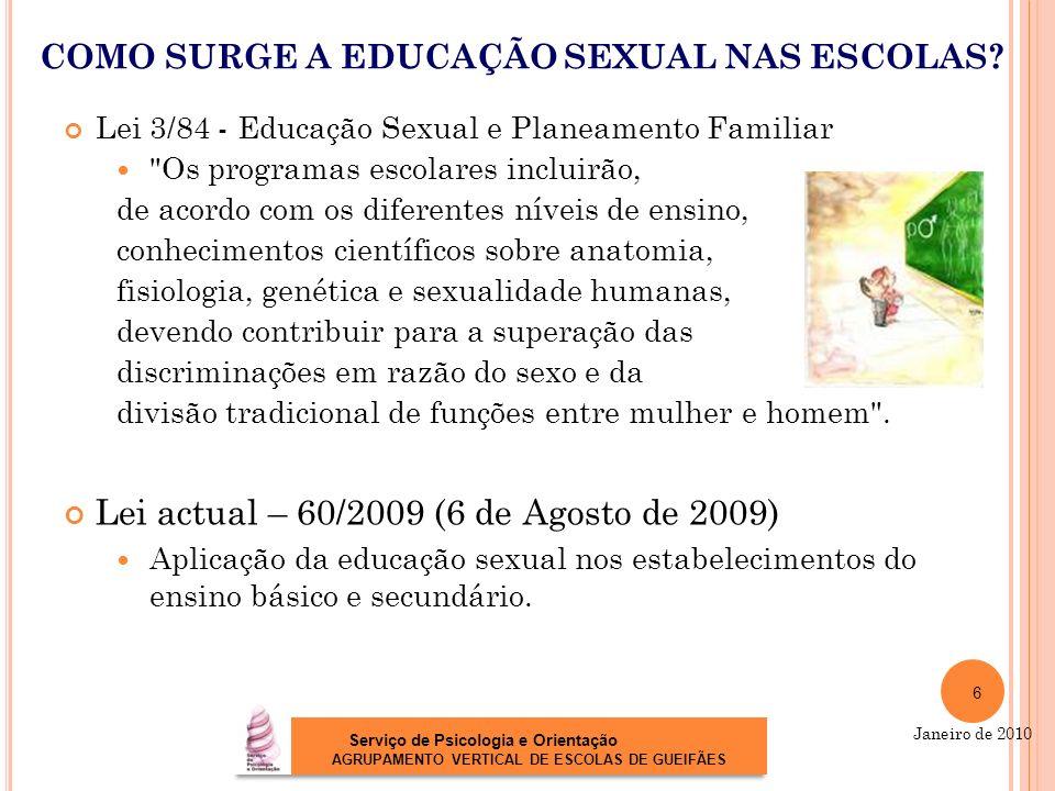 COMO SURGE A EDUCAÇÃO SEXUAL NAS ESCOLAS? Lei 3/84 - Educação Sexual e Planeamento Familiar