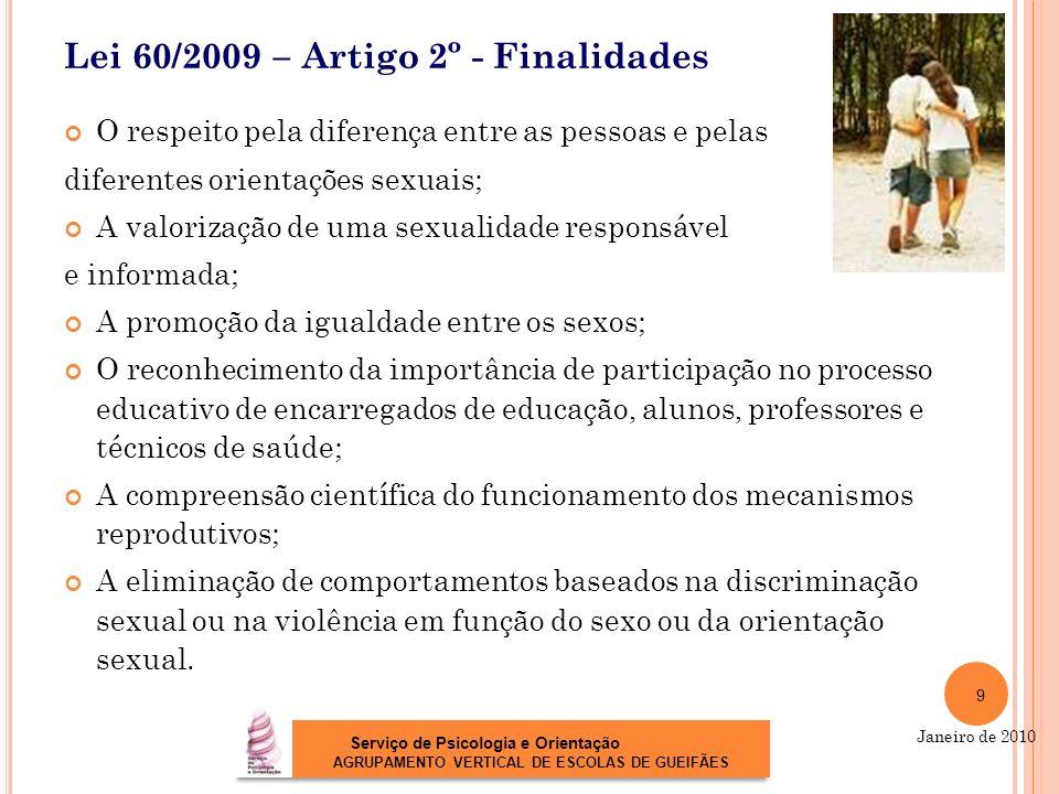 Lei 60/2009 – Artigo 2º - Finalidades O respeito pela diferença entre as pessoas e pelas diferentes orientações sexuais; A valorização de uma sexualid