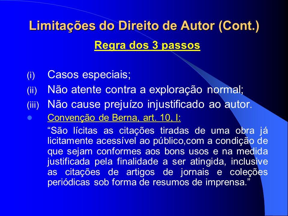 Limitações do Direito de Autor (Cont.) Regra dos 3 passos (i) Casos especiais; (ii) Não atente contra a exploração normal; (iii) Não cause prejuízo injustificado ao autor.