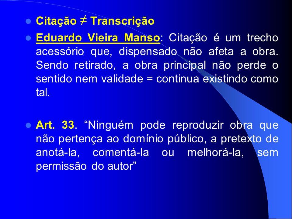 Citação Transcrição Eduardo Vieira Manso: Citação é um trecho acessório que, dispensado não afeta a obra.