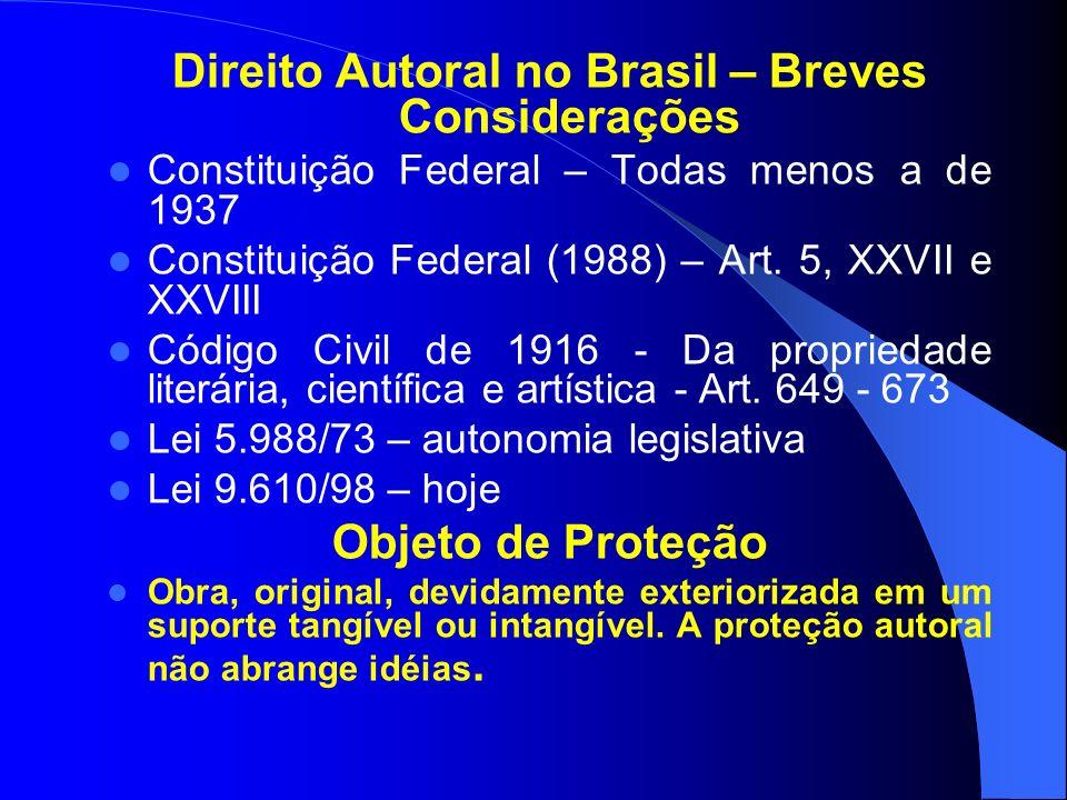 Direito Autoral no Brasil – Breves Considerações Constituição Federal – Todas menos a de 1937 Constituição Federal (1988) – Art.