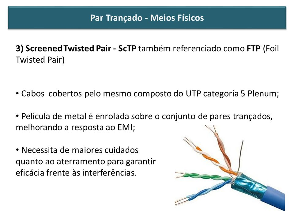 3) Screened Twisted Pair - ScTP também referenciado como FTP (Foil Twisted Pair) Cabos cobertos pelo mesmo composto do UTP categoria 5 Plenum; Películ