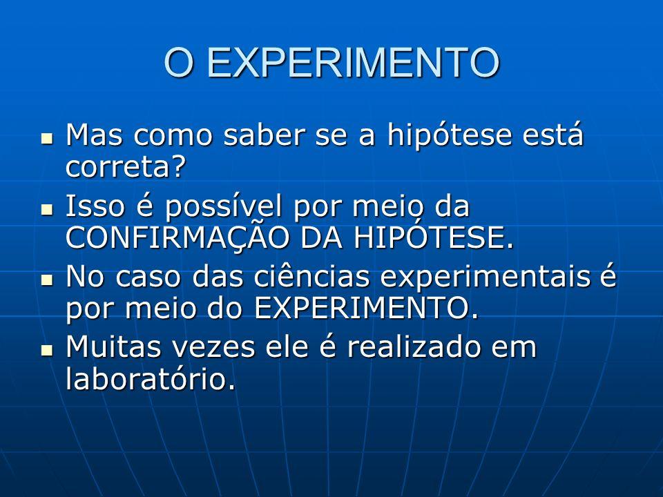 O EXPERIMENTO A experimentação seria a parte prática da pesquisa.