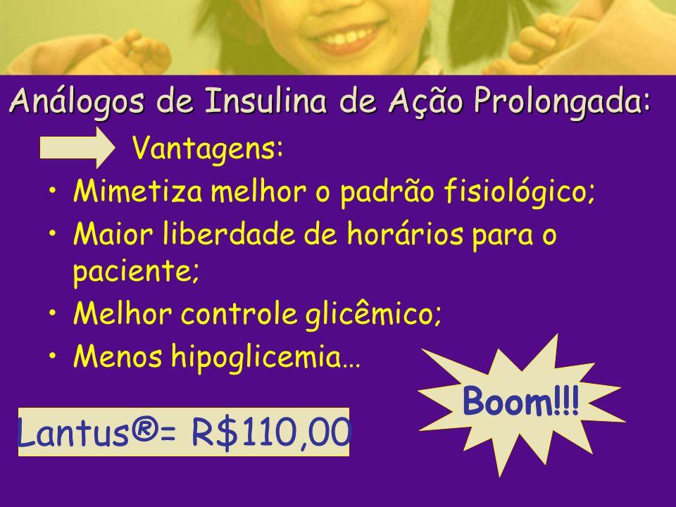 Análogos de Insulina de Ação Prolongada: Vantagens: Mimetiza melhor o padrão fisiológico; Maior liberdade de horários para o paciente; Melhor controle