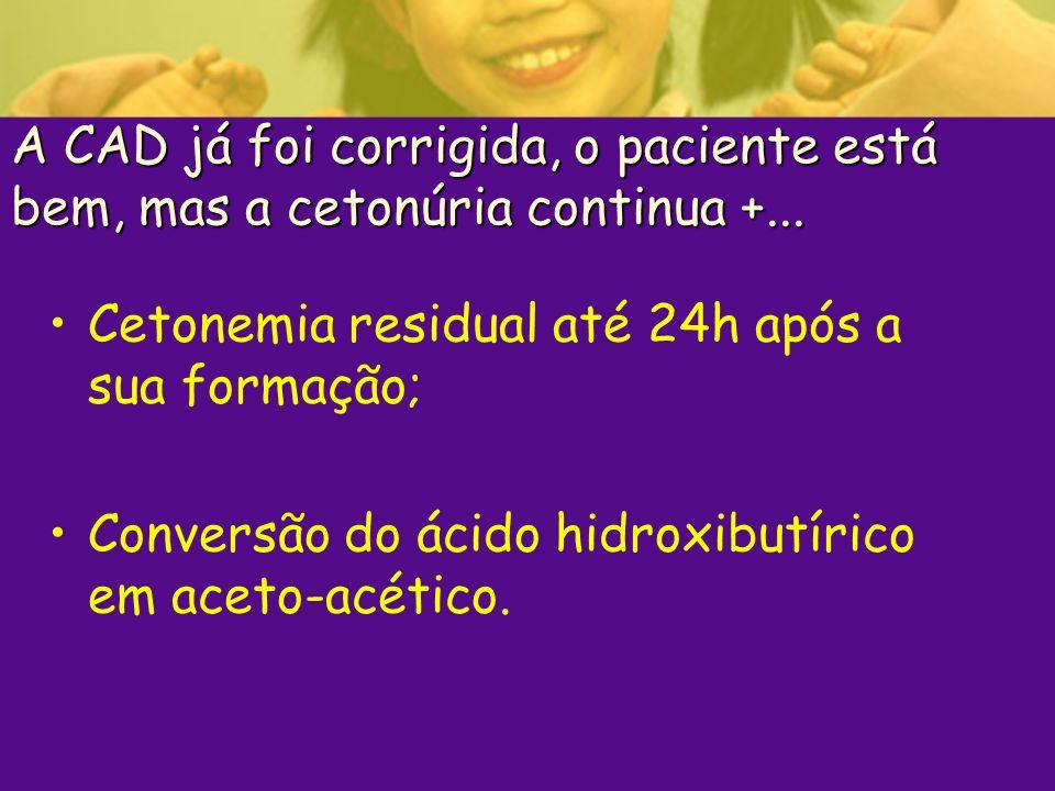 A CAD já foi corrigida, o paciente está bem, mas a cetonúria continua +... Cetonemia residual até 24h após a sua formação; Conversão do ácido hidroxib