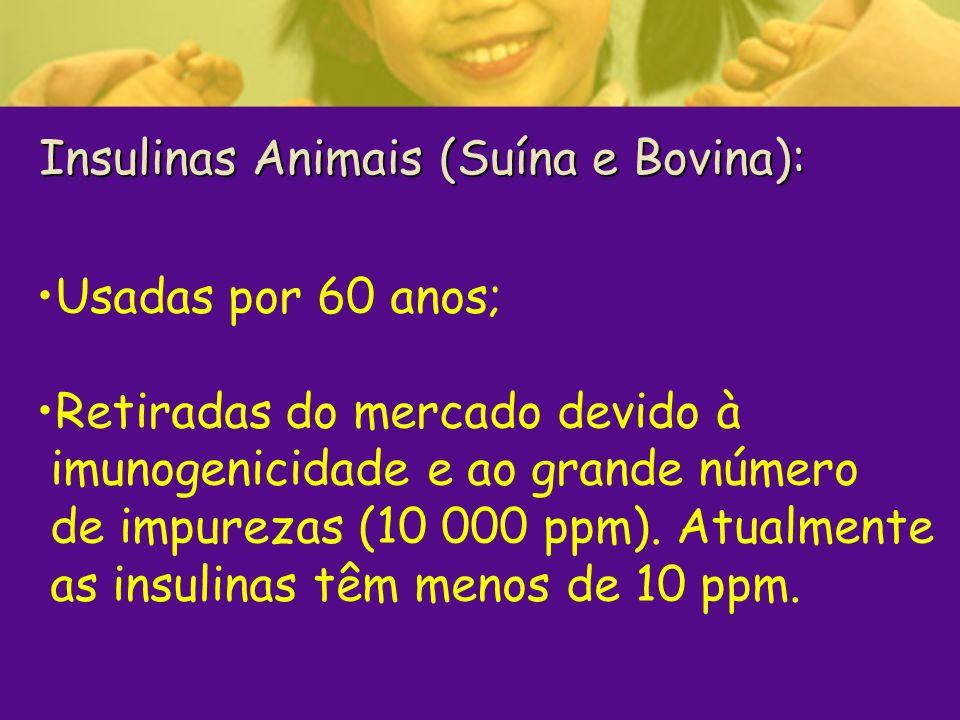 Insulinas Animais (Suína e Bovina): Insulinas Animais (Suína e Bovina): Usadas por 60 anos; Retiradas do mercado devido à imunogenicidade e ao grande