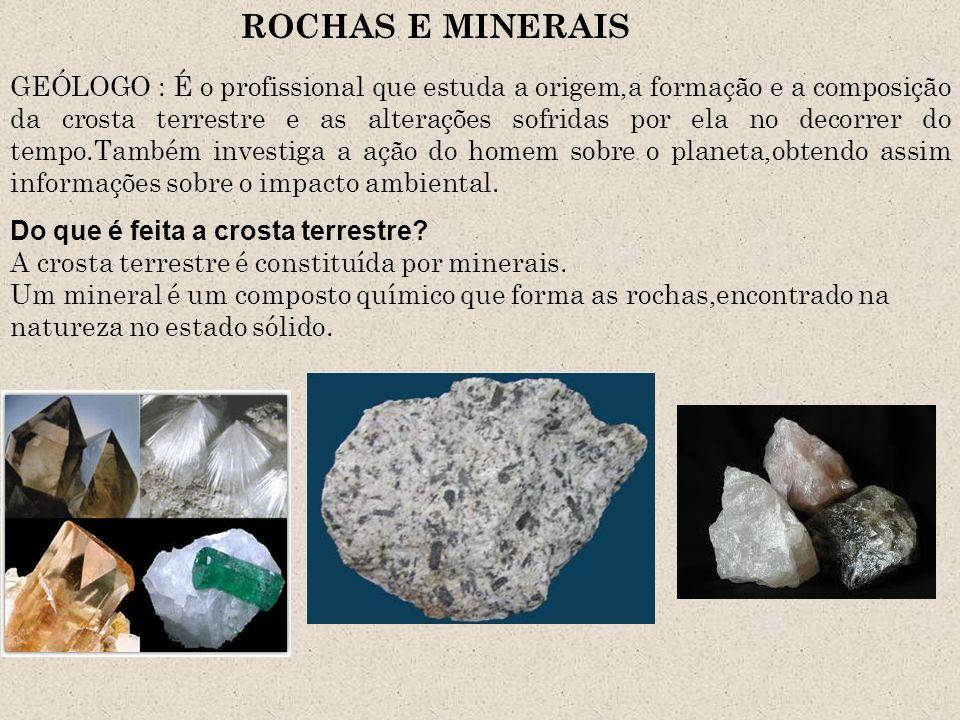 Os minerais formaram-se e continuam sendo formados na superfície da terra e também em seu interior por meio de transformações muito lentas que envolvem a ação da pressão e da temperatura do ambiente em que se encontram.