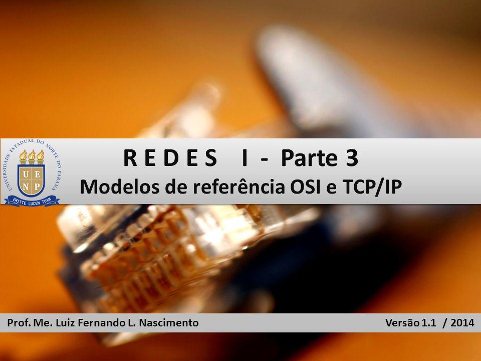 R E D E S I - Parte 3 Modelos de referência OSI e TCP/IP R E D E S I - Parte 3 Modelos de referência OSI e TCP/IP Prof. Me. Luiz Fernando L. Nasciment